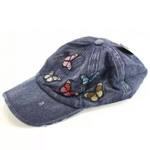 David & Young Distressed Denim Butterfly Cap
